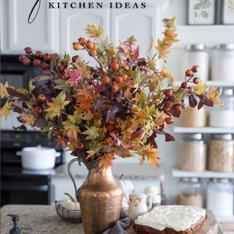 Timeless Fall Kitchen with accents of Burnt Orange, Gold, copper, reds, and other fall colors. Vintage home decor mixed with classic natural fall accents.