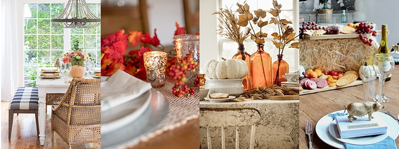 , A simple Amber Bottle Fall Tablescape