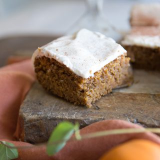 Moist and delicious Fall Pumpkin Snack Cake with Cream Cheese Frosting