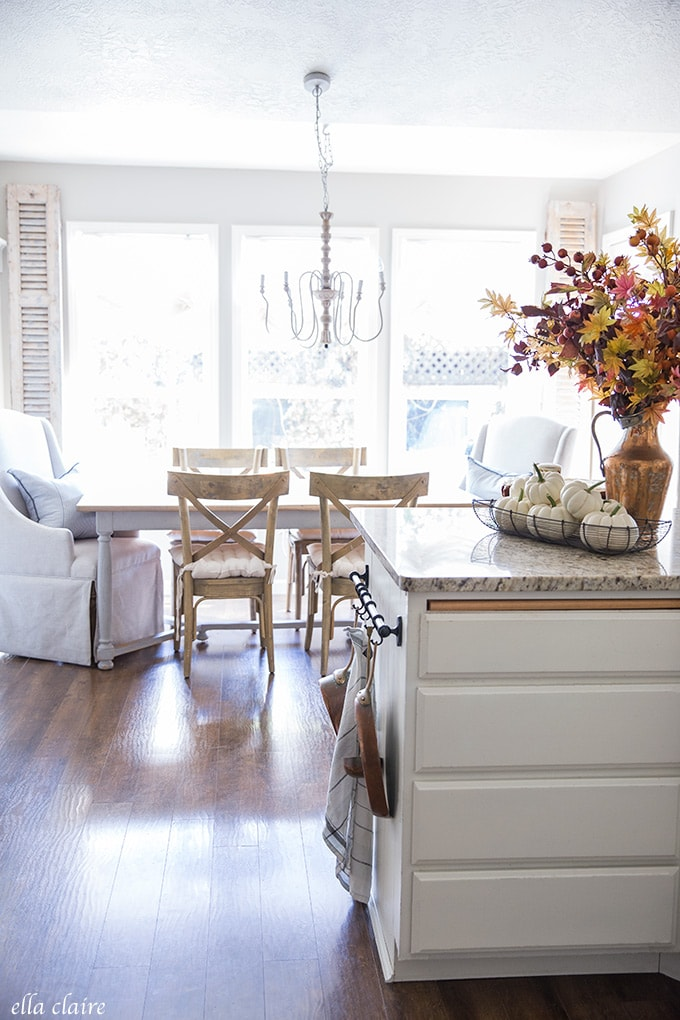 french country charm and timeless warm fall colors accent this kitchen.