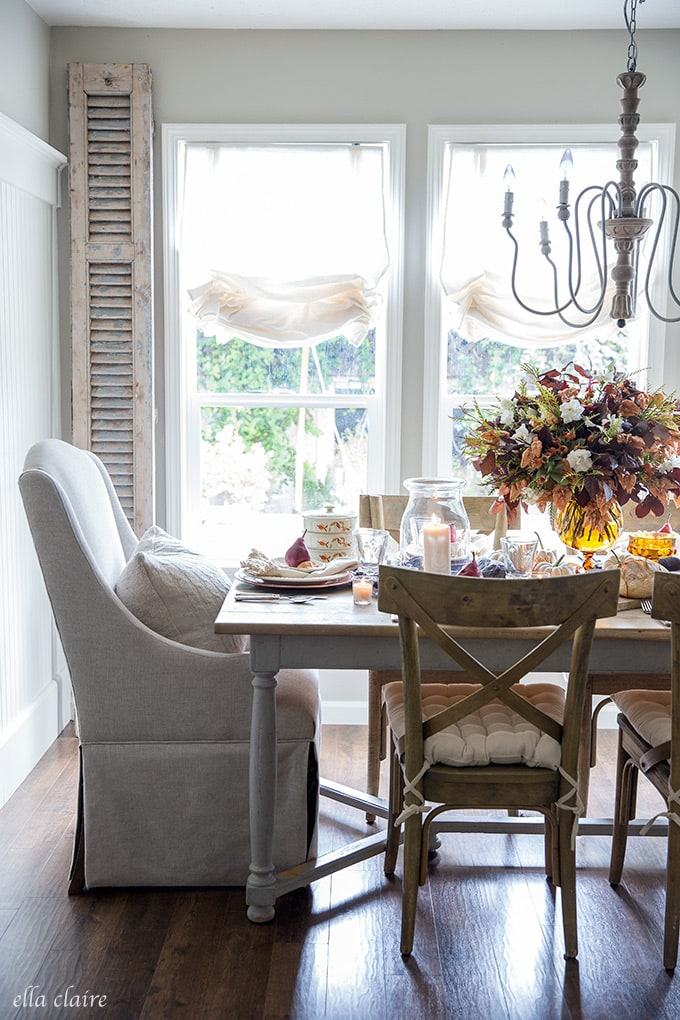 A french country autumn tablescape using found and thrifted items