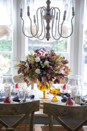 DIY Fall centerpiece using vintage amber glass, leaves and flowers found in the backyard- An autumn tablescape