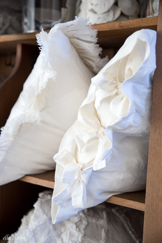 linen pillows with tie detail from ella claire & co.