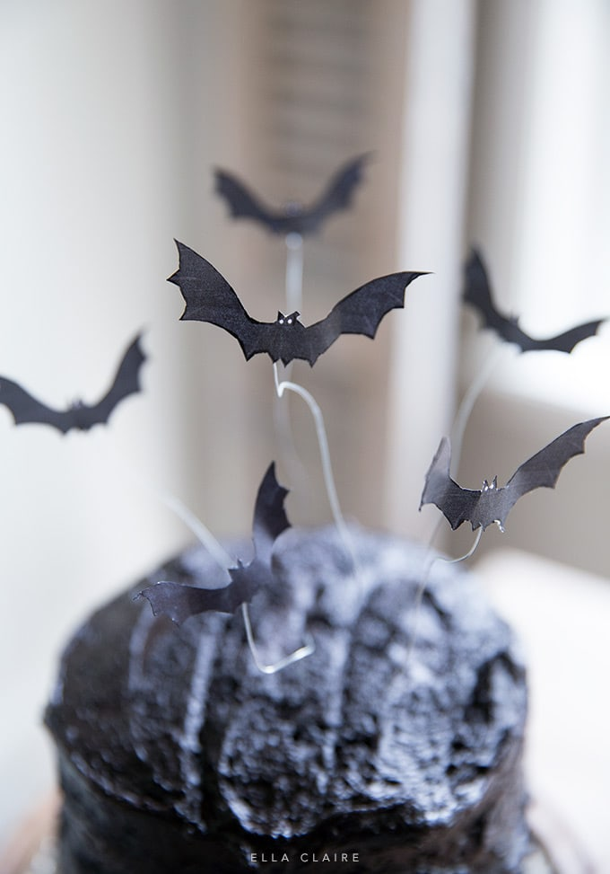 Spooky Free Printable Halloween bat cake topper for easy DIY decor and party dessert!