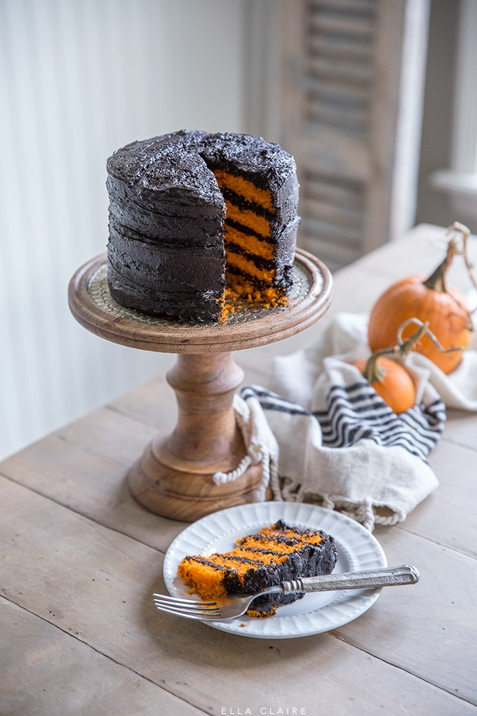 Easy DIY Black and orange striped halloween cake
