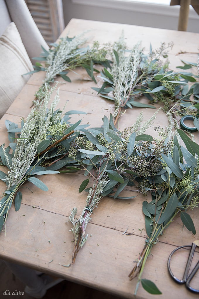 DIY Fresh Wreath- a tutorial to make a eucalyptus wreath from grocery store greens