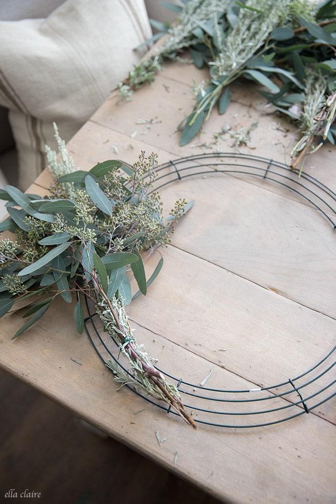 How to make a DIY Eucalyptus Wreath- an easy tutorial for a beautiful fresh wreath