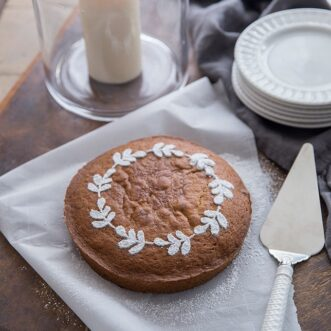 This stencil makes an easy and beautiful cake with beautiful powdered sugar leaf wreath. A perfect Fall dessert.