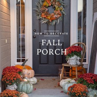 How to decorate a fall porch using mums, pumpkins and this DIY autumn wreath