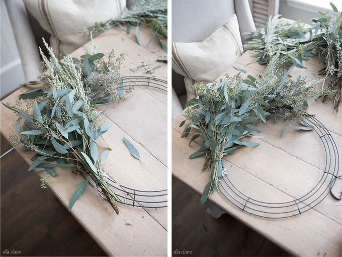 DIY live wreath with eucalyptus and inexpensive greens.