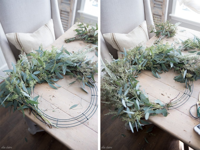 How to make a DIY live wreath with eucalyptus and inexpensive greens.