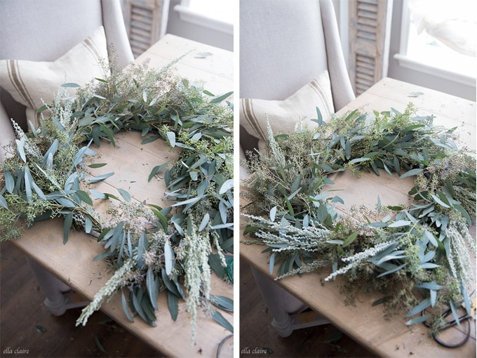 How to make a live wreath with floral greens