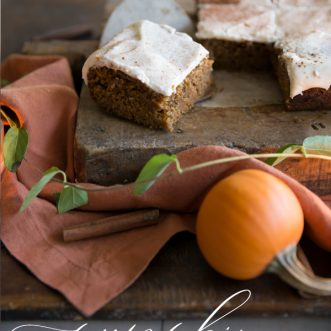 Moist and delicious Pumpkin Snack Cake with Cream Cheese Frosting with the perfect amount of spice- the best treat for fall.