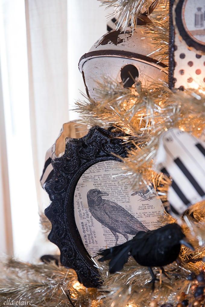 Raven decoration on a vintage DIY halloween Tree