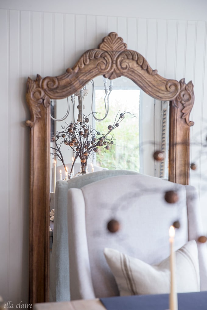 Spooky mirror reflecting tablescape for Halloween decorations and entertaining