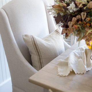 Adding pillows and throws to your fall tablescape creates a cozy and inviting space to entertain family and friends for everyday or thanksgiving.