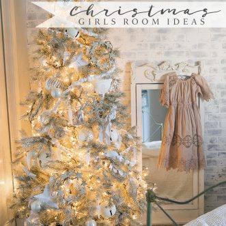 Blush and cream little girls room decorated for Christmas with plenty of DIY and vintage farmhouse ideas for holiday decorating.