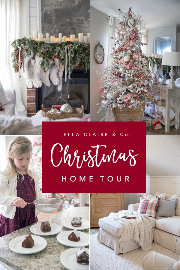 Classic farmhouse inspired nostalgic Christmas decorating ideas in this Holiday home tour. Many family friendly and DIY ideas to make your home decor magical for the season.