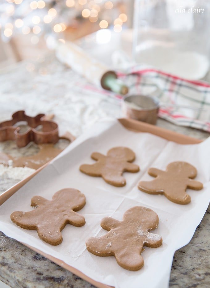 One of my favorite Christmas traditions- making this soft and delicious gingerbread cookie recipe with the kids