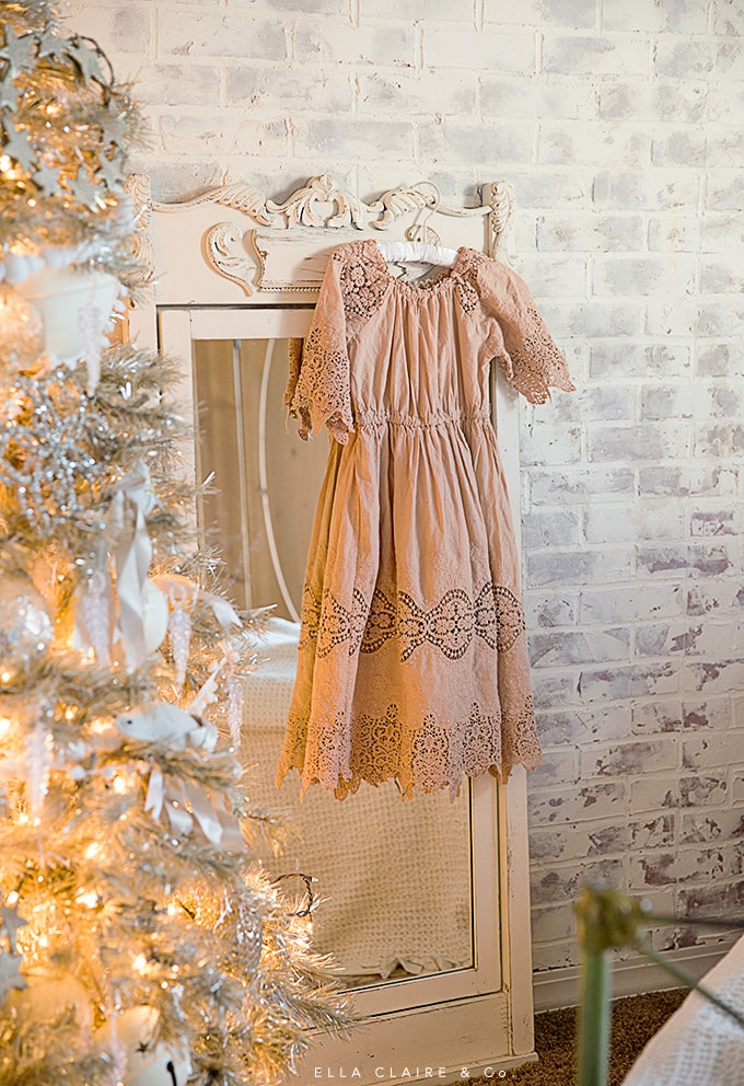 A Sweet blush pink and cream little girl's room decorated for Christmas with lovely vintage elements