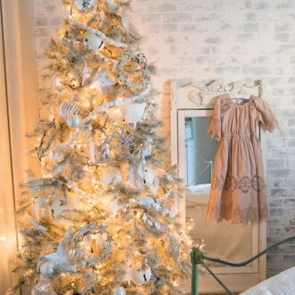 Blush Pink and Cream Girls Christmas Room
