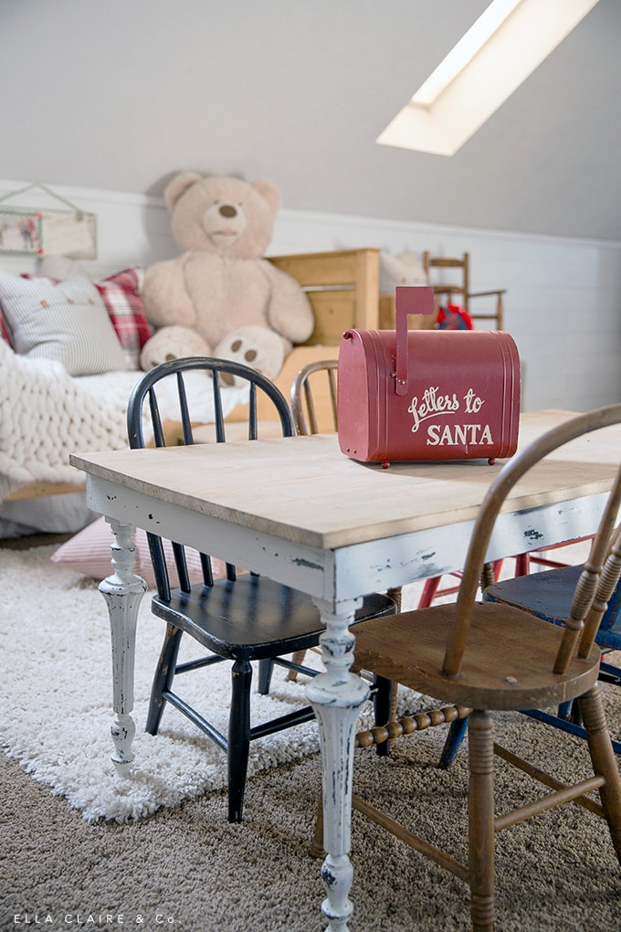 Letters to santa mailbox in a vintage farmhouse Christmas playroom