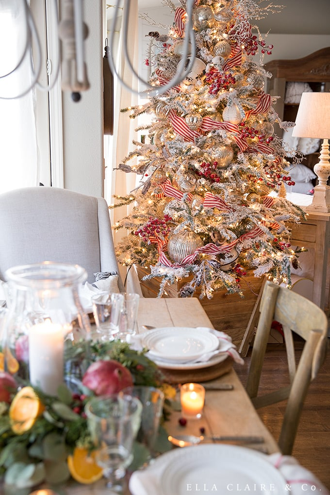 Entertain holiday guests under the glow of the Christmas tree with this cozy tablescape.