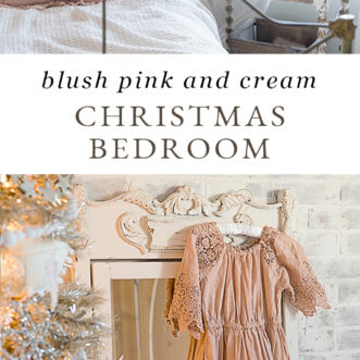 blush pink and cream Christmas bedroom