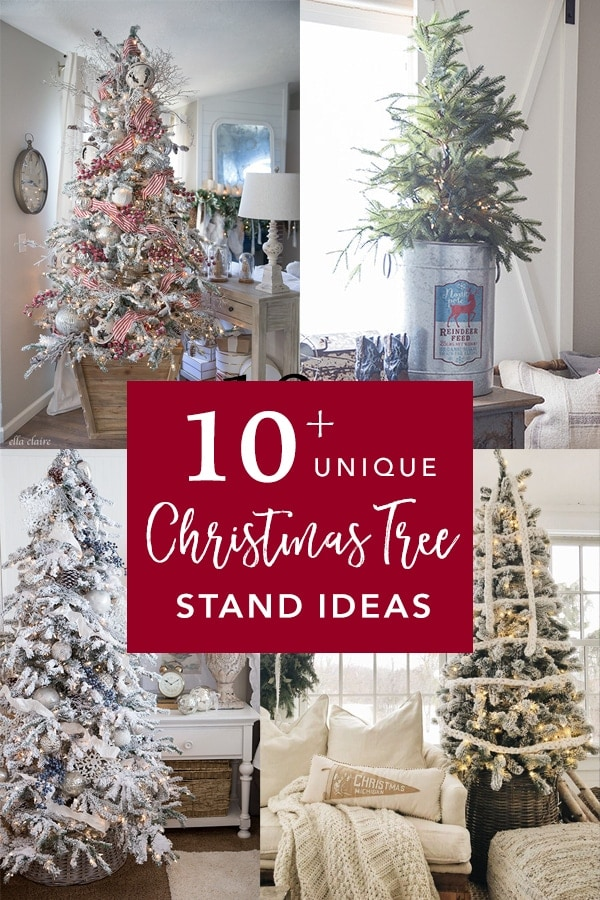 Over 10 unique Christmas tree stand ideas to add a unique style to the base of your Christmas tree. From Farmhouse, to rustic, to elegant, these Christmas tree stands are a beautiful way to add charm to your holiday decorating.