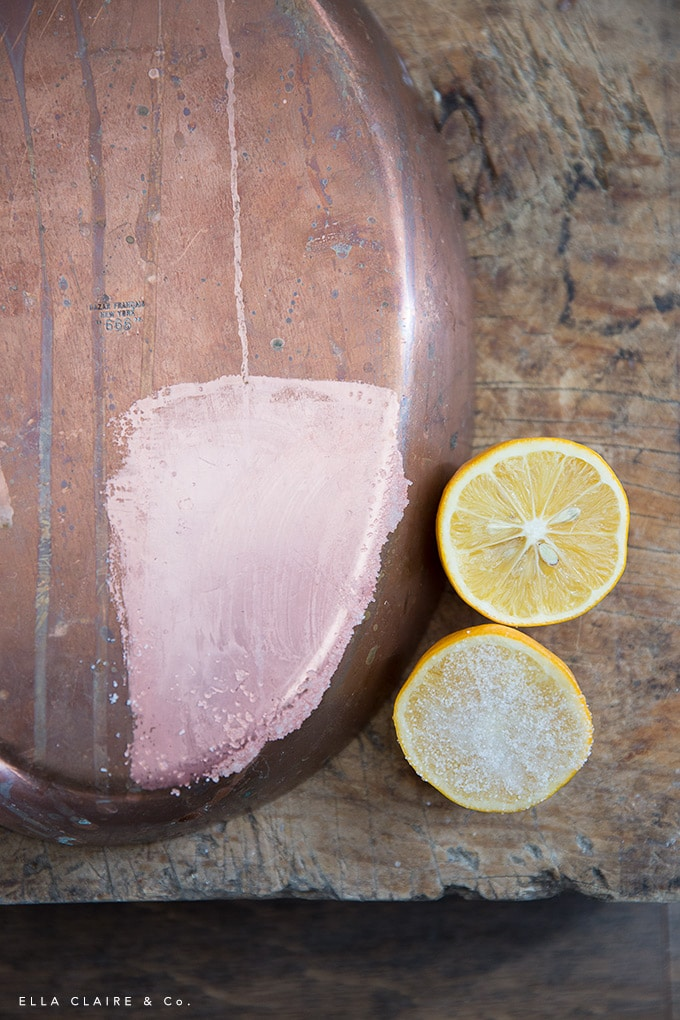 how to clean copper naturally- a DIY non-toxic way to polish up your old copper pots and pans.