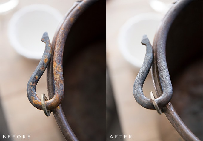 How to clean rust before and after- an all natural DIY way to quickly and easily clean rust off of iron and other metal.