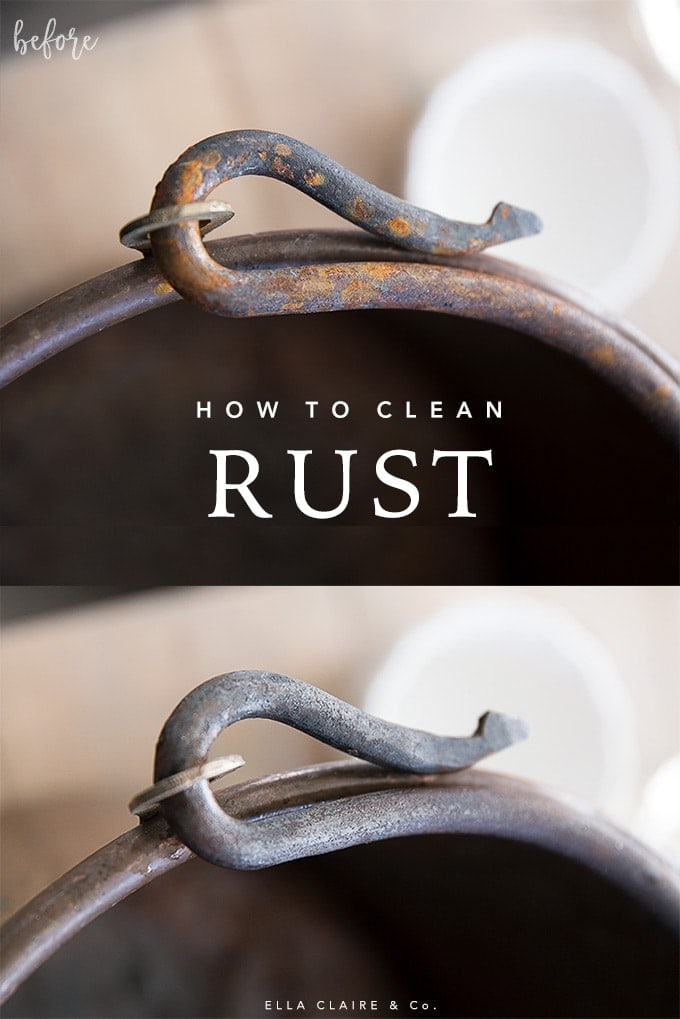 How to clean rust before and after- an all natural DIY way to quickly and easily clean rust off of iron and other metal (vinegar and foil method)