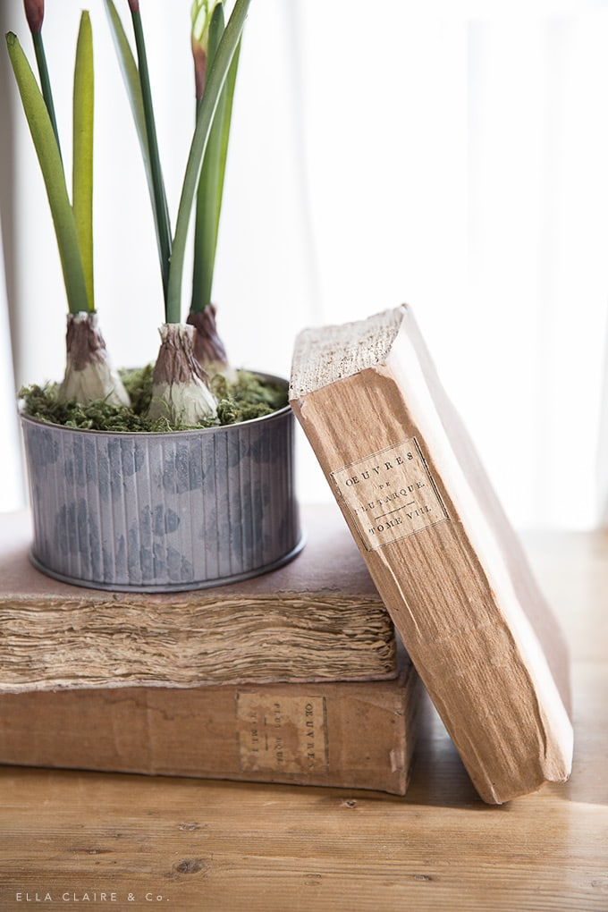 Use antique books for versatile decorating throughout the seasons. These books add texture and patina to any vignette.