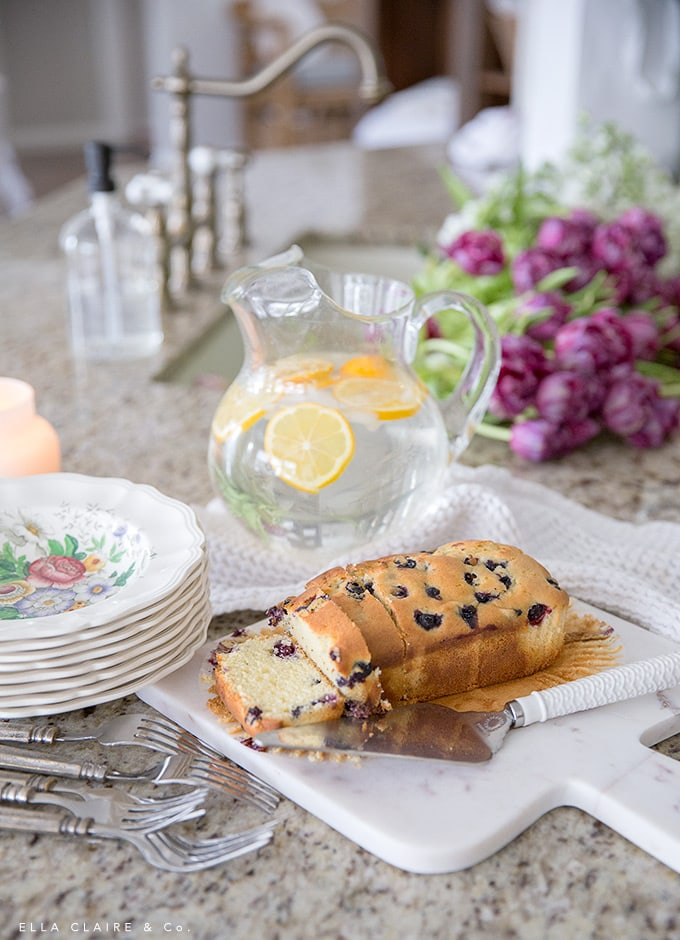 Fresh blueberry bread and meyer lemon water are an easy and perfect spring snack.