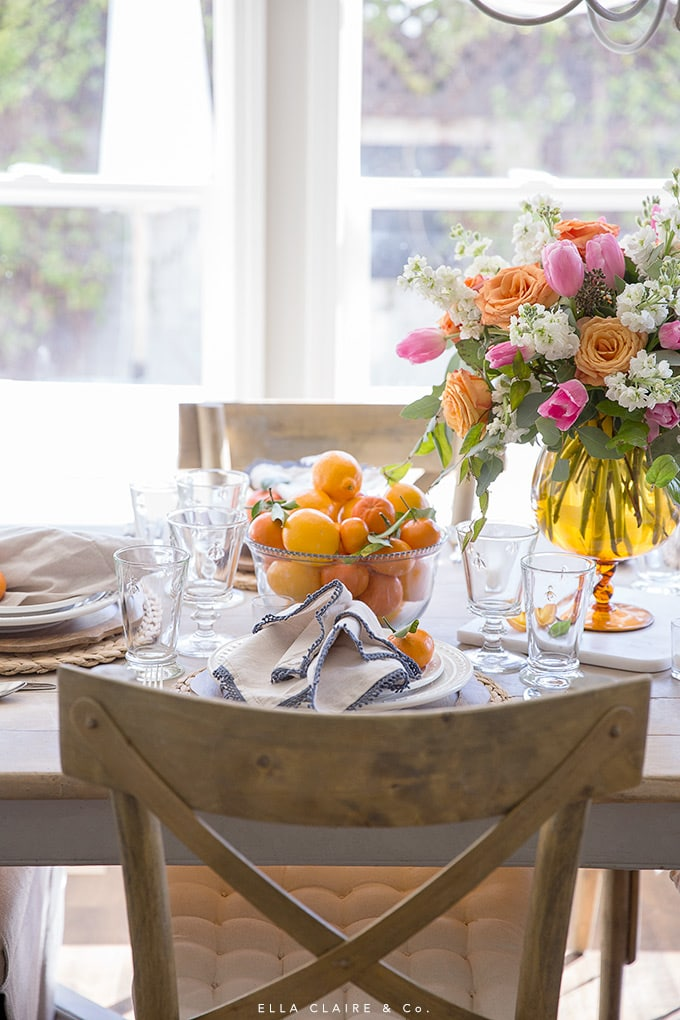 Lemons and oranges make a beautiful and simple centerpiece for spring entertaining- and bonus- its edible too!