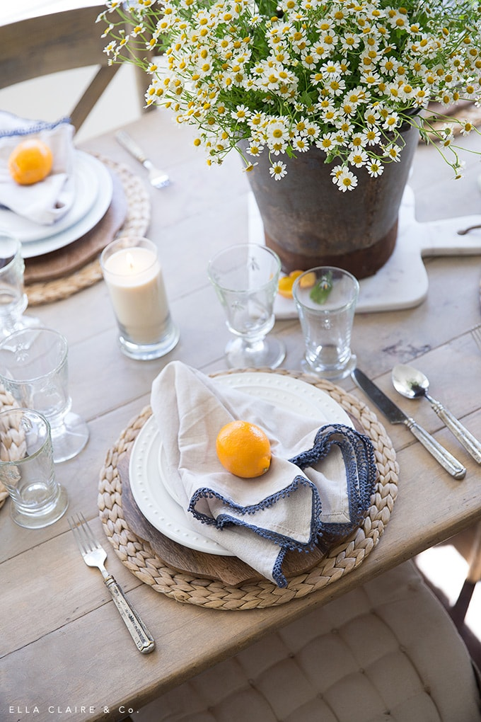 Meyer lemons are a colorful accent to a farmhouse inspired table for Spring.