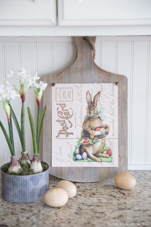 Free printable 8x10 Easter bunny postcard art with beautiful ephemera typography - so cute for decorating or entertaining for the holiday.