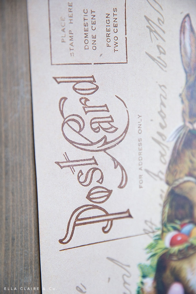 A sweet ephemera typography detail on a Free vintage postcard and script vintage Easter printable.