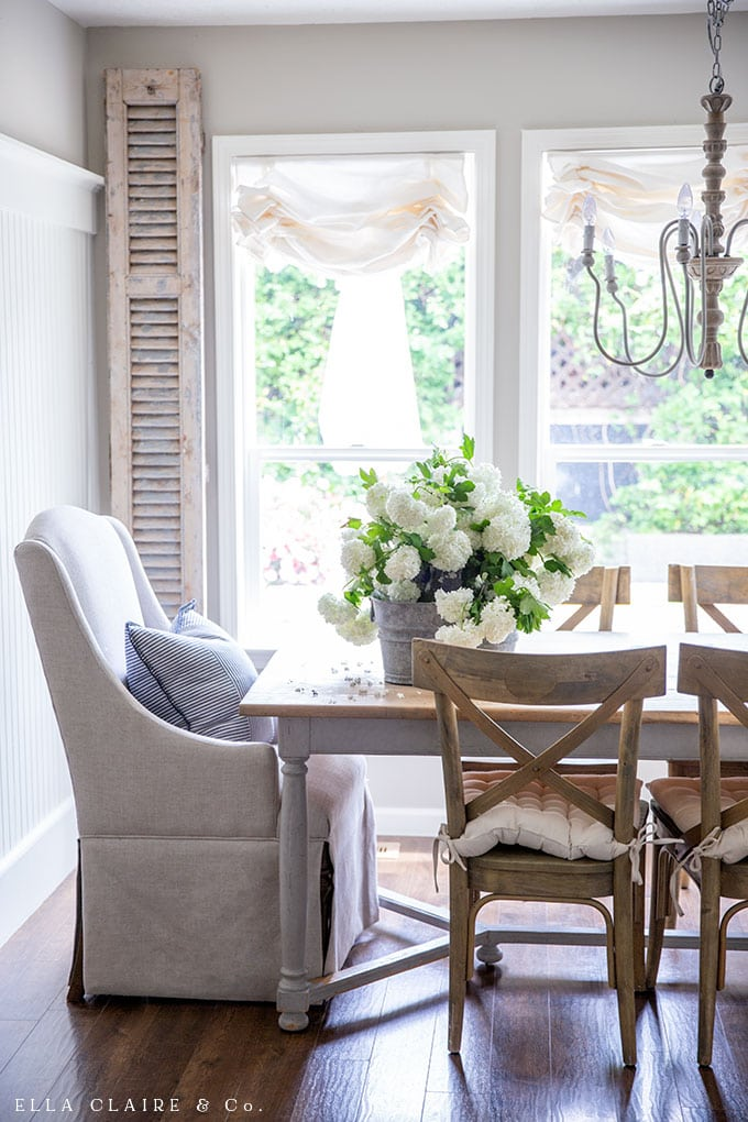 Budget friendly French Country summer decorating ideas with vintage finds and simple decor.
