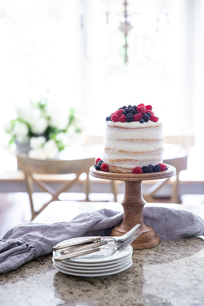 easy DIY Layered naked cake with berry topping is a fresh and delicious dessert for summer.