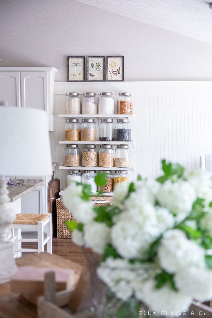DIY jar shelves tutorial- These shelves help to increase pantry space and add to the farmhouse kitchen decor at the same time.