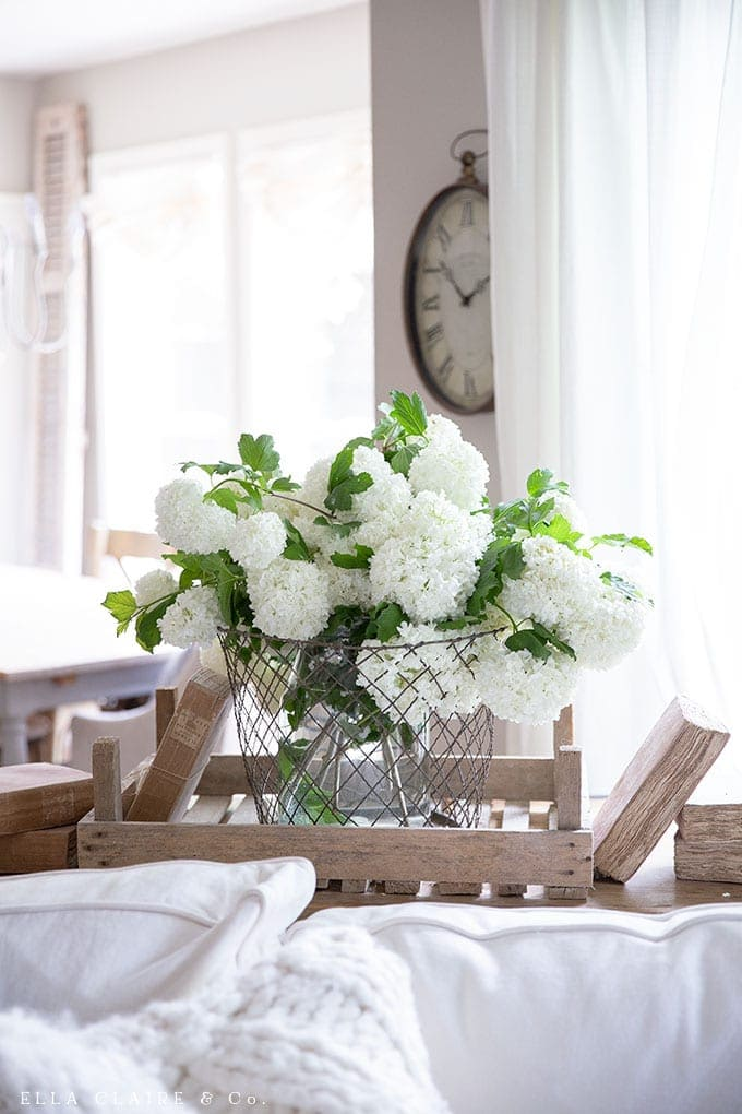DIY budget friendly farmhouse decor ideas- Yard clippings are a budget friendly way to add fresh floral arrangements to your home.