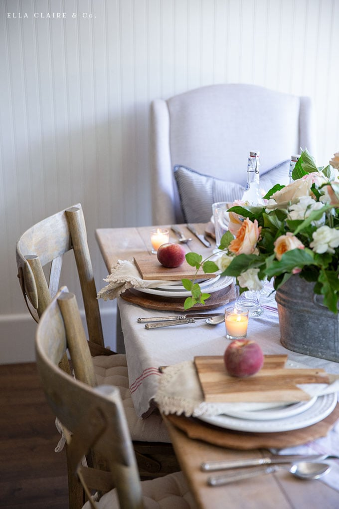 Create this peach harvest tablescape for your summer entertaining using these simple DIY ideas.