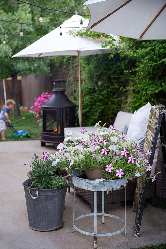 Adding an outdoor fireplace makes a patio a cozy place to be for family and entertaining friends. It is also perfect for roasting marshmallows!