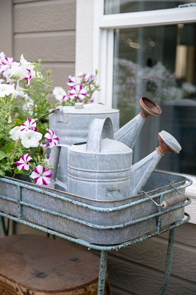These vintage watering cans are functional and cute patio and garden decor.