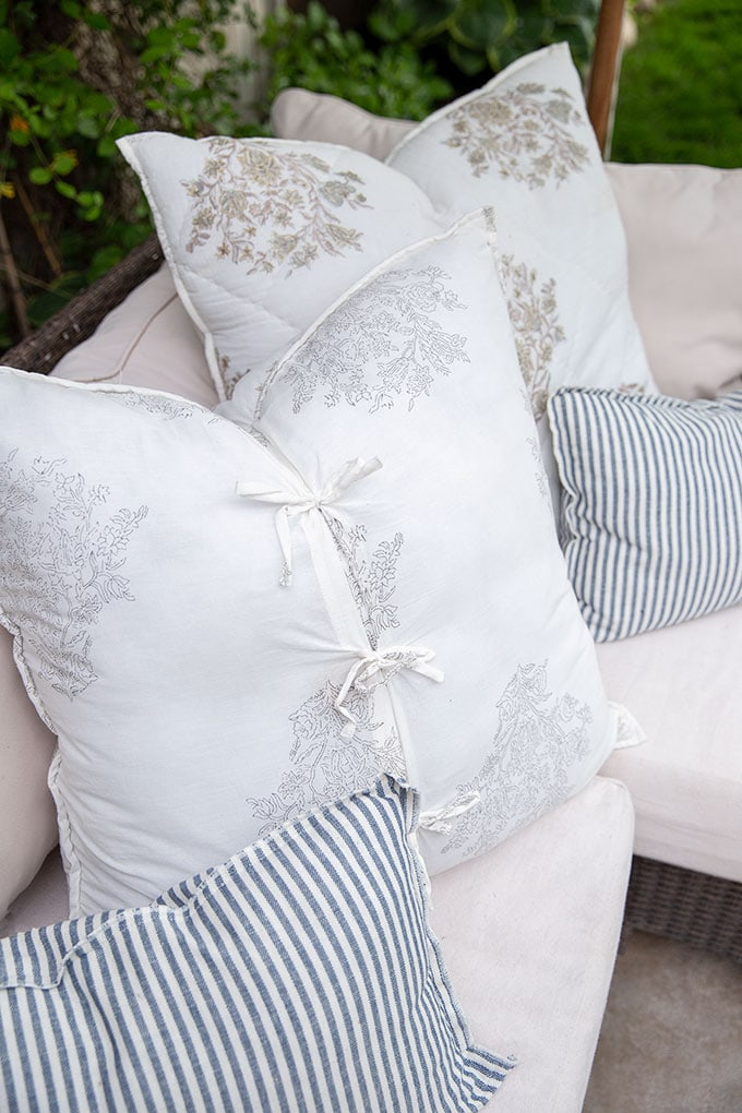 Detail of our outdoor pillows for our patio sectional. Outdoor furniture can be cozy and comfortable and inviting!
