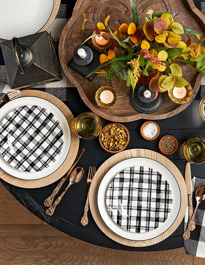 Black and white and warm tones Fall and thanksgiving table for entertaining