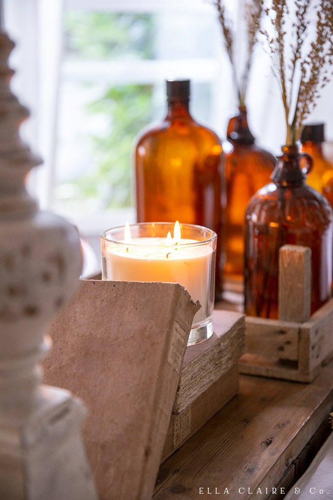 Candlelight in the fall is a must for higgle and ambiance. It looks right at home amongst the amber glass.