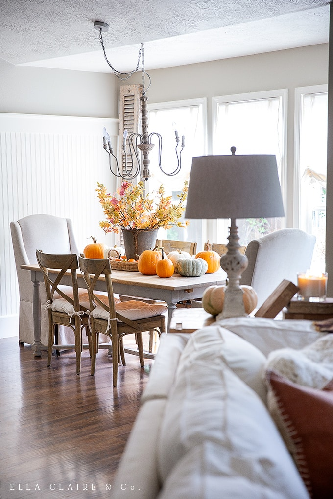a harvest of pumpkins from the garden turned into a fun fall centerpiece decorating idea.