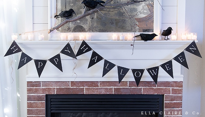 A free printable Happy Halloween banner that is perfect for decorating a costume party or your home this season.